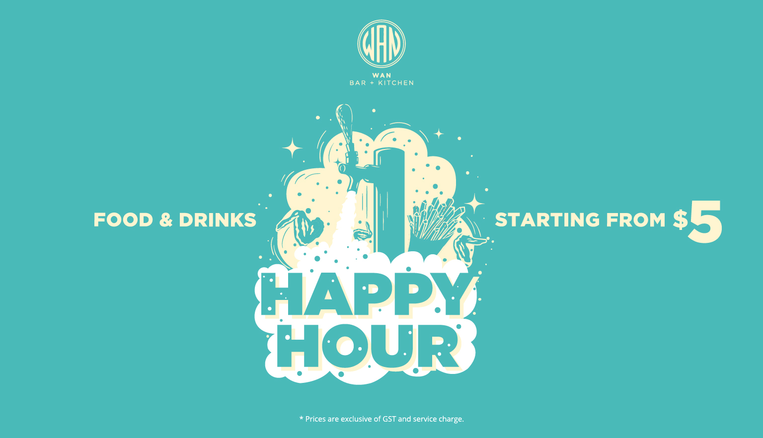 d6498e2988 Enjoy  5 house pour spirits and wine daily at WAN WAN Bar Kitchen during  Happy Hour